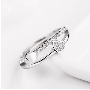 Gorgeous White Sapphire Adj Double Hearts Cubic Zi